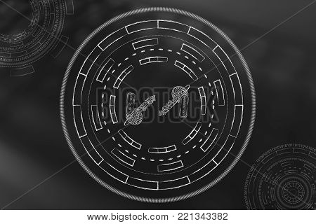 public and private encryption keys surrounded by abstract technology cyberspace mechanism made of spinning circles