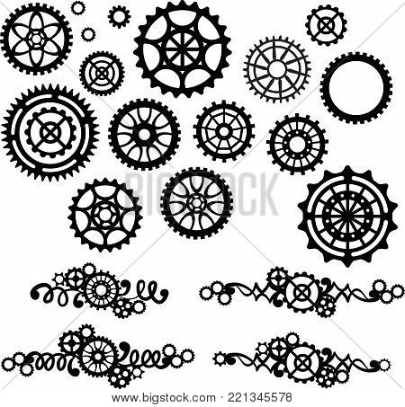 A set of four borders with gears and different gears. Black illustration on a white background