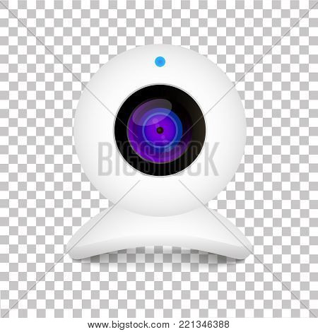 Realistic computer web cam on transparent background. Illustration on white background.