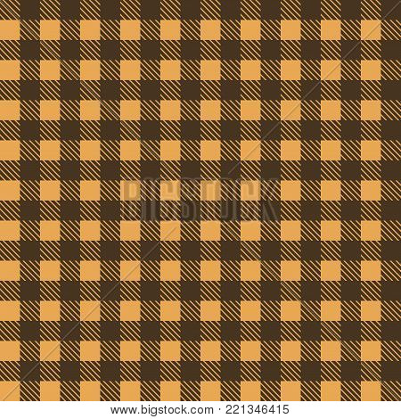 Yellow and brown seamless tablecloth Vector.   Seamless traditional tablecloth pattern Vector.