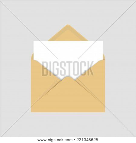Realistic blank template of brown paper envelope with empty white sheet. Vector illustration mock up open envelope for letter.