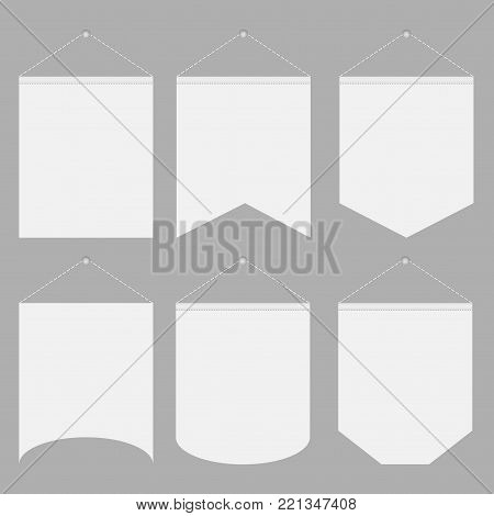 White Pennant Template Hanging on Wall Set. Vector illustration
