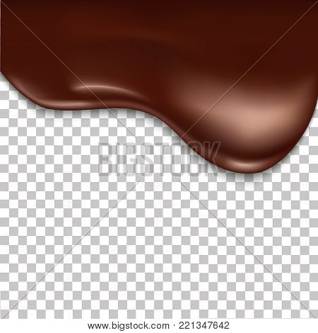 Melted chocolate dripping on transparent background. Realistic vector background