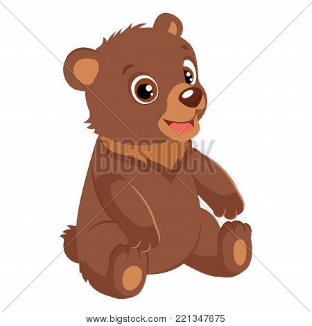 Cute Happy Little Bear Vector Illustration. Smiling Teddy Bear. Cartoon Vector Character On White Background.