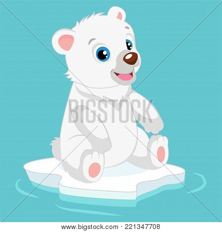 Cute Happy Little Polar Bear Vector Illustration. Smiling Polar Teddy Bear Waving Hand. Cartoon Vector Character.