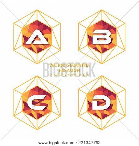 Alphabetical hexagon vector - Vector logo letter A B C D concept illustration. Hexagon geometric polygonal logo. Hexagon abstract logo. Vector logo template. Design element.