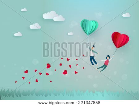 Vector happy valentines day illustration, invitation card, sale poster, party banner template - man and girl couple flying at paper origami hearts - air balloons in blue cloud sky.