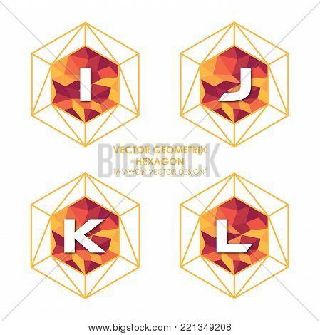 Alphabetical hexagon vector - Vector logo letter I J K L concept illustration. Hexagon geometric polygonal logo. Hexagon abstract logo. Vector logo template. Design element.