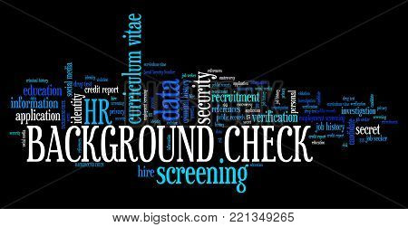 Background check - employment screening. Word cloud concept.
