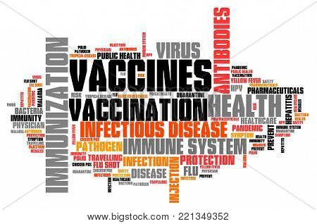 Vaccines and immunization - health care concept. Word cloud sign.