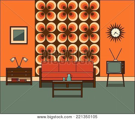 Living room interior. Retro room in line art. Linear illustration. Vector graphics. Vintage home space with sofa, TV set and coffee table in flat design. House equipment. Cartoon furniture.