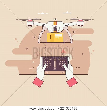 Drone delivers the parcel.The concept of fast, free delivery, gift.Thin line colorful vector illustration isolated on stylish background