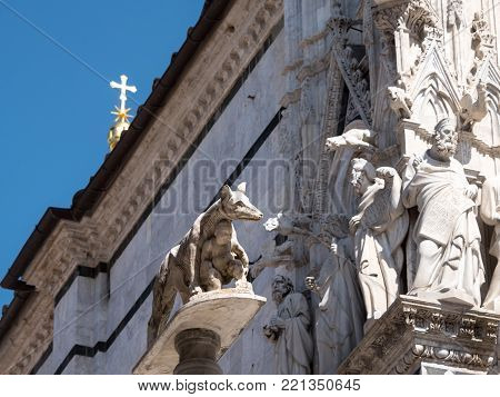 Statue of the Capitoline Wolf that fed twins Romulus and Remus, founders of Rome, in front of the west facade of the Cathedral of Siena. In the background statues of saints and gargoyles are attached to the facade