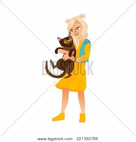 Blond teenage girl standing and holding black cat, smiling happily, flat cartoon vector illustration isolated on white background. Full length portrait of teen smiling girl holding a big black cat