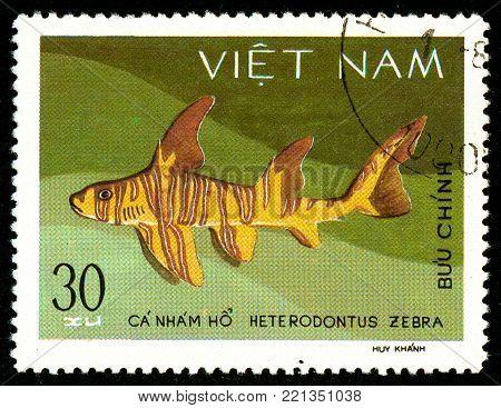 Ukraine - circa 2018: A postage stamp printed in Vietnam shows drawing Zebra Bullhead Shark or Heterodontus zebra. Series: Shark and Dogfish. Circa 1980.