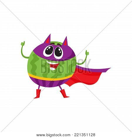 Watermelon fruit hero, superhero character, guard, defender, comic, cartoon style vector illustration isolated on white background. Watermelon character, hero in superhero costume, mask and cape