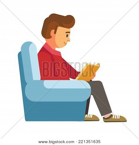 Children students in library or bookshop reading books . Vector flat design of people read and study
