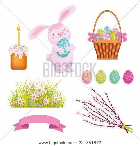 Set of cartoon Easter decoration elements bunny, eggs, cake, willow branches and flowers, vector illustration isolated on white background. Easter bunny, eggs, basket, flowers and willow branches