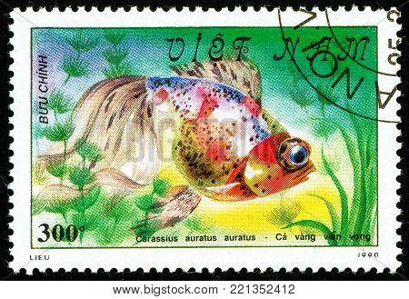 Ukraine - circa 2018: A postage stamp printed in Vietnam shows drawing fish Black Moor or Carassius auratus auratus. Series: Fish - Goldfish, Veil-tailed. Circa 1990.