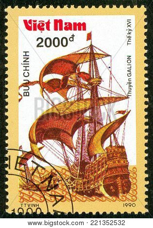 Ukraine - circa 2018: A postage stamp printed in Vietnam shows ship 16th - Century Galleon And Pinnace. Series: Ancient boats. Circa 1990.