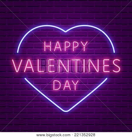 Happy Valentines Day. Neon Glowing Text. 80s Retro banner template. Night club electric light signboard. Dark brick wall background. Vector illustration. Party invitation, poster, flyer, wallpaper.