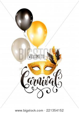Festive Masqeurade Party invitation template. Bright carnival greeting card with golden venetian mask and balloons. Brasil carnaval party banner with ornamental lettering isolated on white background.