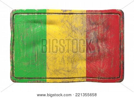 3d Rendering Of A Mali Flag Over A Rusty Metallic Plate. Isolated On White Background.