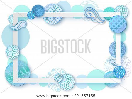 Paper art frame with japan wave pattern, brochure, business card template or background in trendy oriental geometric style, japanese eastern ornament, trendy vector fashion invitation, gift card