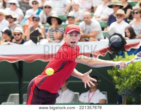 Melbourne, Australia - January 10, 2018: Tennis player Dominic Thiem   preparing for the Australian Open at the Kooyong Classic Exhibition tournament