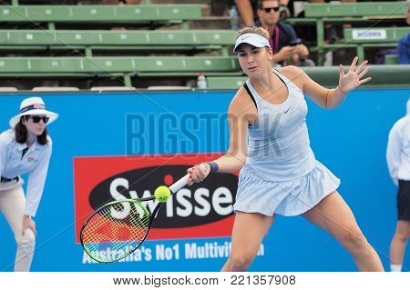 Melbourne, Australia - January 10, 2018: Tennis player Belinda Bencic preparing for the Australian Open at the Kooyong Classic Exhibition tournament
