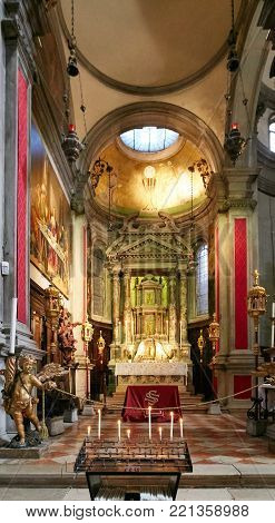 Venice, Italy - August 14, 2017: Interior Of The Church Of Ss Salvatore.