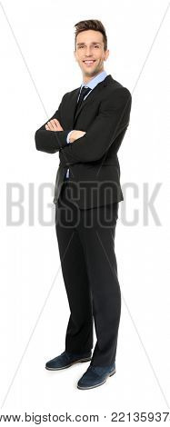 Young man in formal clothes on white background