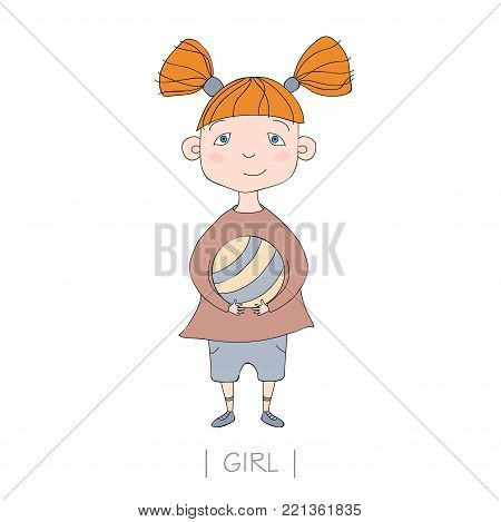 Illustration with cute girl holding a ball. Vector nice little girl