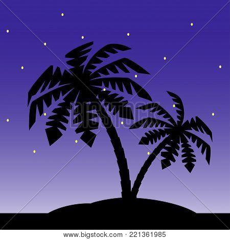 The island with palm trees against the background of the starry sky.