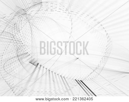 Abstract white and black background. Fractal graphics series. Dynamic composition of dots, traces and beams.