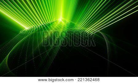 Abstract green and black background. Fractal graphics series. Dynamic composition of dots, traces and beams.