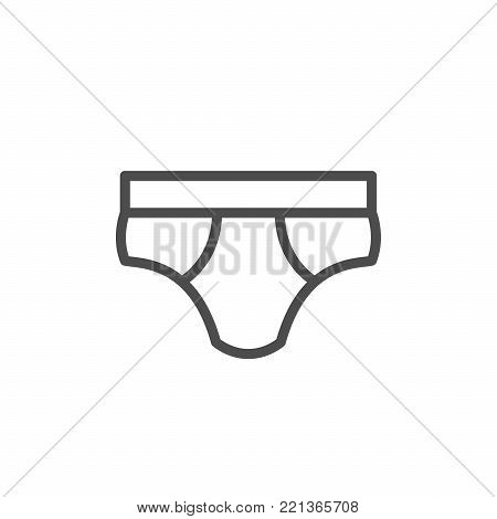 Male underpants line icon isolated on white. Vector illustration