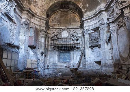 RIETI, ITALY - JULY 17, 2017: Rieti (Lazio, Italy): interior of ruined abandoned church