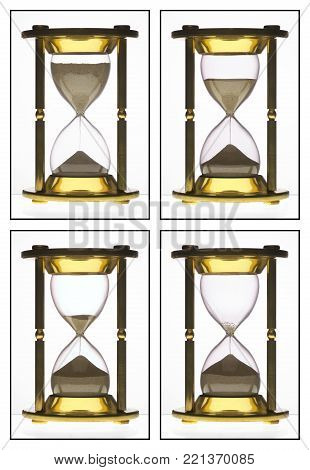 ROW OF FOUR BRASS HOUR GLASSES SHOWING SEQUENCE OF SAND FLOWING