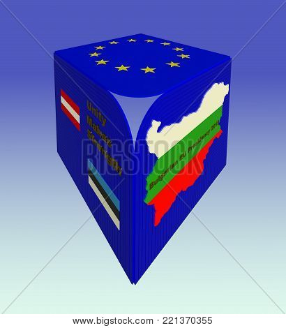Bulgarian EU council presidency 2018 sign, symbol, logo 3d illustration. EU flag, Bulgarian flag, Bulgarian map, Austrian flag, Estonian flag, motto, 3d text, gradient background. Enhanced perspective, heart shape effect. Collection.