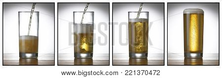 FOUR PICTURE SEQUENCE OF PINT GLASS BEING FILLED UP WITH BEER