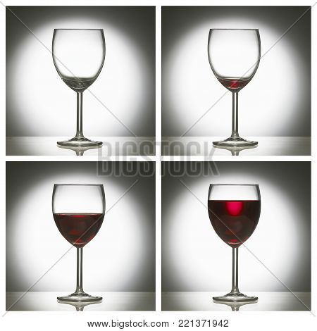 FOUR PICTURE SEQUENCE OF GLASS OF RED WINE FROM EMPTY TO FULL