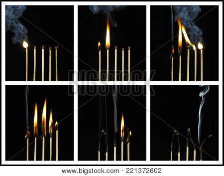 SIX PICTURE SEQUENCE OF FIVE BURNING MATCHES