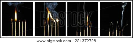 Four Picture Sequence Of Burning Match