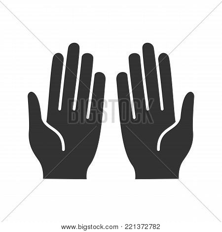 Muslim praying hands glyph icon. Asking to Allah. Silhouette symbol. Negative space. Vector isolated illustration