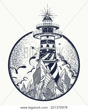 Lighthouse Tattoo And T-shirt Design. Beacon On The Rock. Symbol Of Meditation, Hiking, Adventures G
