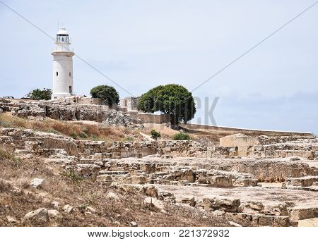 Paphos lighthouse viewed from the ruins at Paphos Archeological park