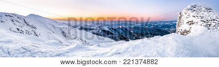 High mountain panorama, European beautiful winter mountains, Alpine mountains in winter, Panoramic view snowcapped mountains, Snowy winter mountains at sunset, European mountain panorama