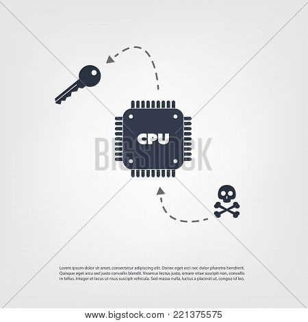 Password or Data Leak Problem Due to CPU Bugs and Vulnerabilities - IT Security Concept Design, Vector Illustration