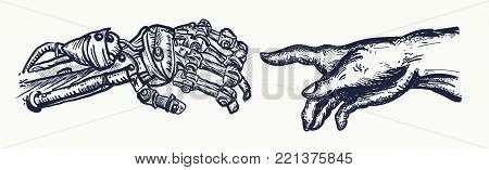 Human and robot's hands tattoo. Robot hands touching with human fingers tattoo and t-shirt design. Symbol of spirituality, religion, connection and interaction, people and artificial intelligence